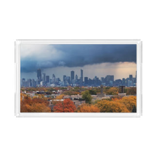 USA, Illinois, Chicago, cityscape Serving Tray