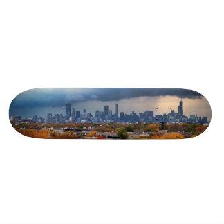 USA, Illinois, Chicago, cityscape Skate Board Deck
