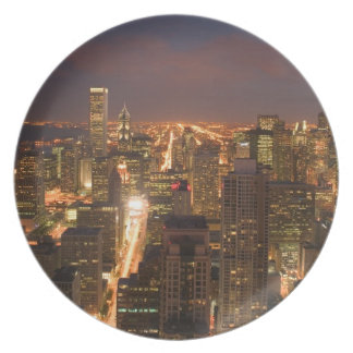 USA, Illinois, Chicago: Evening View of The Loop 2 Melamine Plate