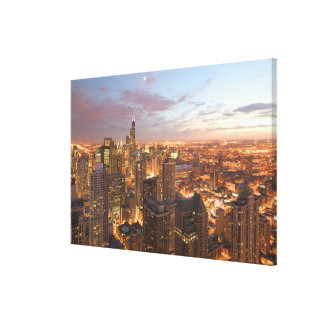 USA, Illinois, Chicago: Evening View of The Loop Canvas Print