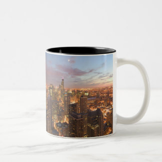 USA, Illinois, Chicago: Evening View of The Loop Two-Tone Coffee Mug