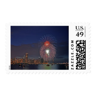 USA, Illinois, Chicago, Fourth of July fireworks Postage