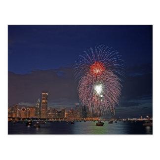 USA, Illinois, Chicago, Fourth of July fireworks Postcard