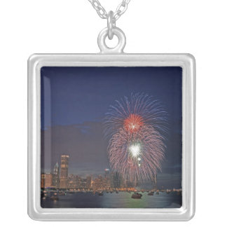 USA, Illinois, Chicago, Fourth of July fireworks Silver Plated Necklace