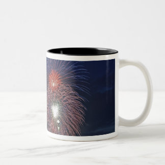 USA, Illinois, Chicago, Fourth of July fireworks Two-Tone Coffee Mug