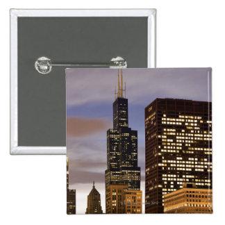 USA, Illinois, Chicago, Illuminated skyscrapers Pinback Buttons