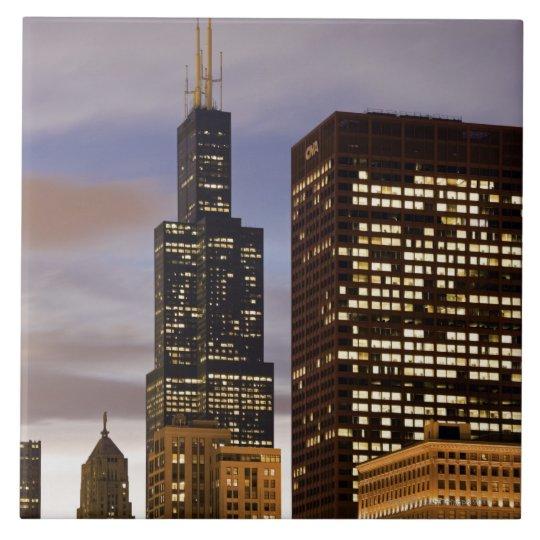 USA, Illinois, Chicago, Illuminated skyscrapers Ceramic Tile