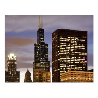 USA, Illinois, Chicago, Illuminated skyscrapers Postcard