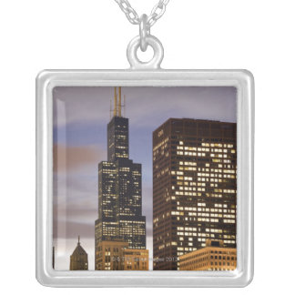 USA, Illinois, Chicago, Illuminated skyscrapers Silver Plated Necklace