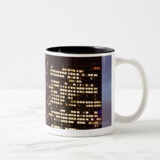 USA, Illinois, Chicago, Illuminated skyscrapers Two-Tone Coffee Mug