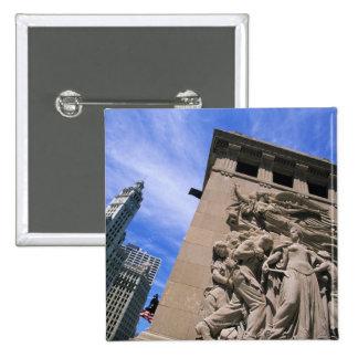 USA, Illinois, Chicago, Michigan Avenue Bridge Pinback Button