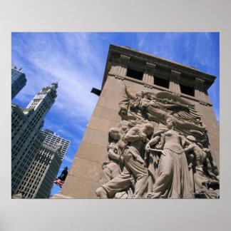 USA, Illinois, Chicago, Michigan Avenue Bridge Print