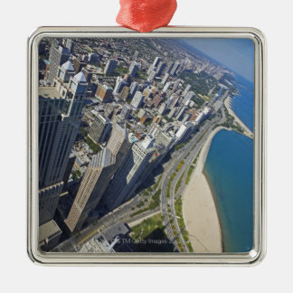 USA, Illinois, Chicago shore seen from Hancock Metal Ornament