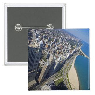 USA, Illinois, Chicago shore seen from Hancock Pinback Button