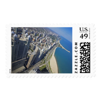 USA, Illinois, Chicago shore seen from Hancock Stamp