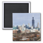 USA, Illinois, Chicago skyline 2 2 Inch Square Magnet