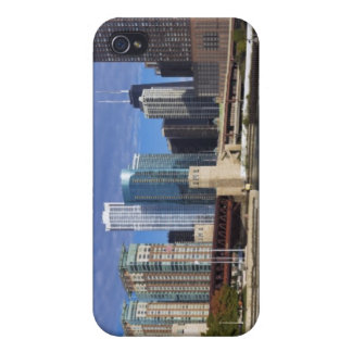 USA, Illinois, Chicago skyline across river Covers For iPhone 4