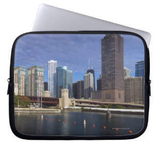 USA, Illinois, Chicago skyline across river Laptop Sleeve