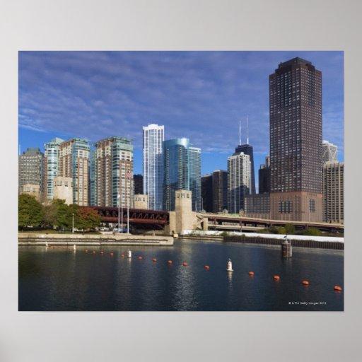USA, Illinois, Chicago skyline across river Poster