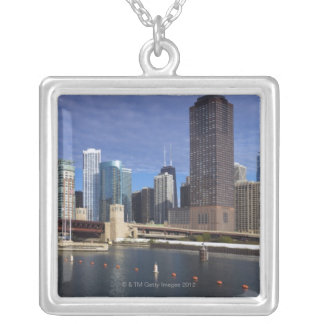 USA, Illinois, Chicago skyline across river Silver Plated Necklace
