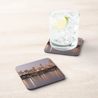 USA, Illinois, Chicago skyline at dusk Beverage Coaster
