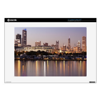 USA, Illinois, Chicago skyline at dusk Decals For Laptops