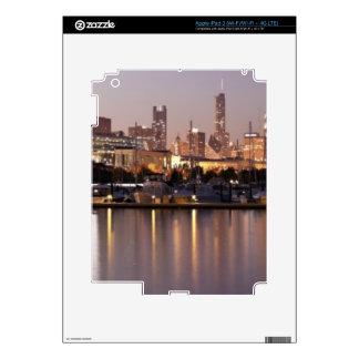 USA, Illinois, Chicago skyline at dusk iPad 3 Decals