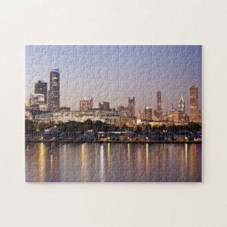 USA, Illinois, Chicago skyline at dusk Jigsaw Puzzle