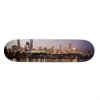 USA, Illinois, Chicago skyline at dusk Skate Decks