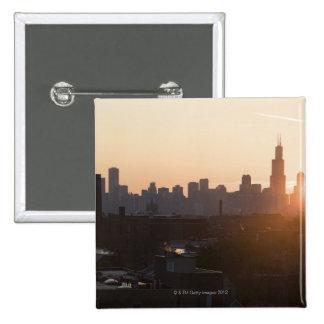 USA, Illinois, Chicago skyline at sunrise Buttons