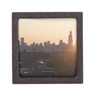 USA, Illinois, Chicago skyline at sunrise Keepsake Box