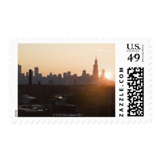 USA, Illinois, Chicago skyline at sunrise Postage