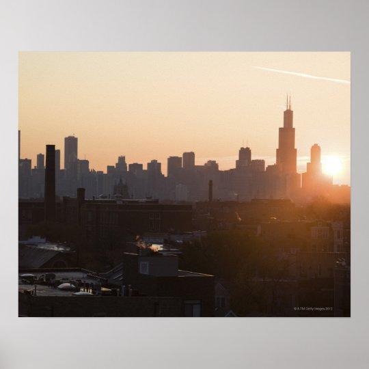 USA, Illinois, Chicago skyline at sunrise Poster