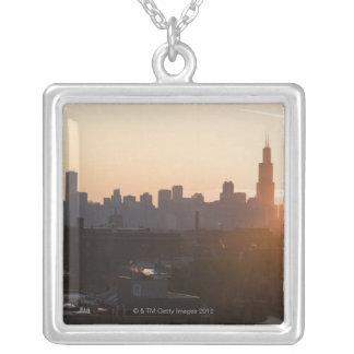 USA, Illinois, Chicago skyline at sunrise Square Pendant Necklace
