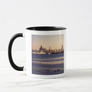USA, Illinois, Chicago, Skyline at sunset Mug