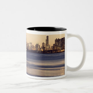 USA, Illinois, Chicago, Skyline at sunset Two-Tone Coffee Mug