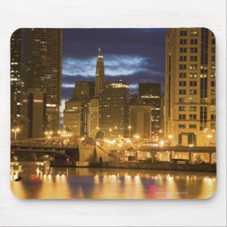 USA, Illinois, Chicago skyline illuminated at Mouse Pad
