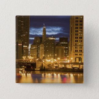 USA, Illinois, Chicago skyline illuminated at Pinback Button
