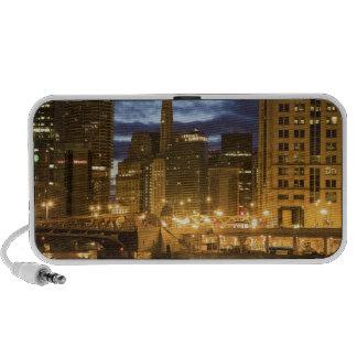 USA, Illinois, Chicago skyline illuminated at Mini Speaker