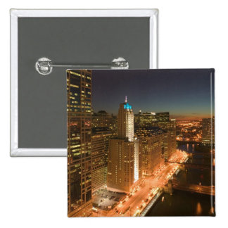 USA, Illinois, Chicago: The Loop: Buildings Pinback Buttons