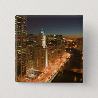 USA, Illinois, Chicago: The Loop: Buildings Pinback Button