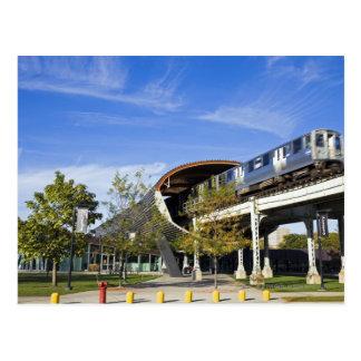 USA, Illinois, Chicago, Train passing Illinois Postcards