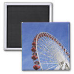 USA, Illinois, Chicago. View of Ferris wheel 2 Inch Square Magnet