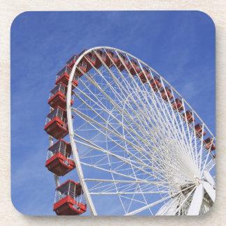 USA, Illinois, Chicago. View of Ferris wheel Drink Coaster