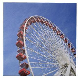 USA, Illinois, Chicago. View of Ferris wheel Large Square Tile