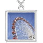USA, Illinois, Chicago. View of Ferris wheel Square Pendant Necklace