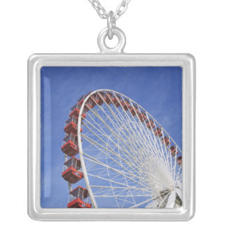 USA, Illinois, Chicago. View of Ferris wheel Square Pendant Necklace