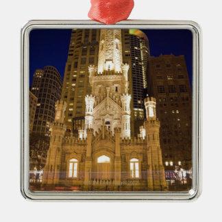 USA, Illinois, Chicago, Water Tower illuminated Metal Ornament