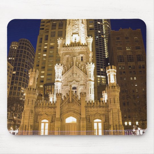USA, Illinois, Chicago, Water Tower illuminated Mouse Pad