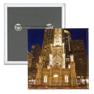 USA, Illinois, Chicago, Water Tower illuminated Pinback Button